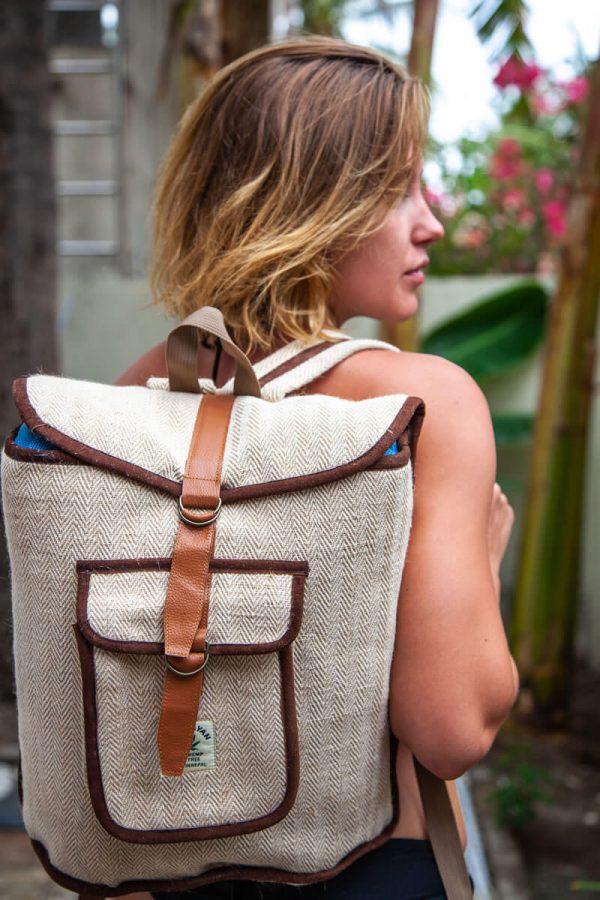 model with hemp backpack