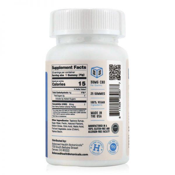 cbd gummies 30mg nutrition label